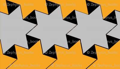 Yellow and Silver Stars on Black Background 3