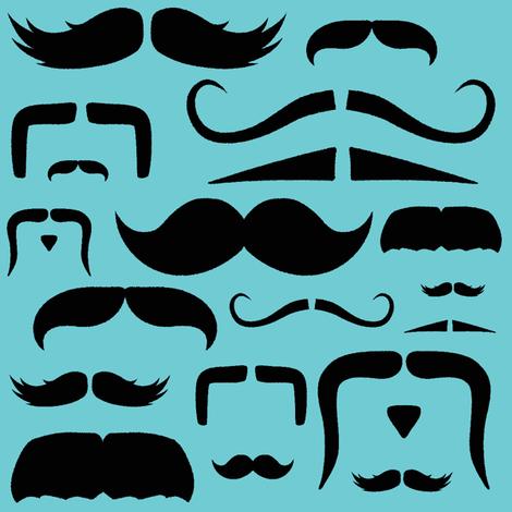 mustache love aqua fabric by bridgethofer on Spoonflower - custom fabric