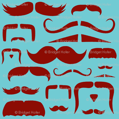 mustache love aqua and red