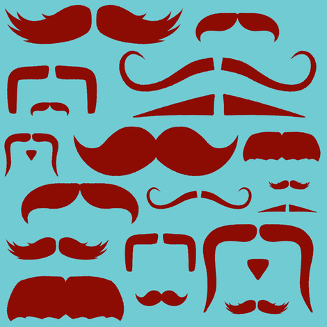mustache love aqua and red fabric by bridgethofer on Spoonflower - custom fabric