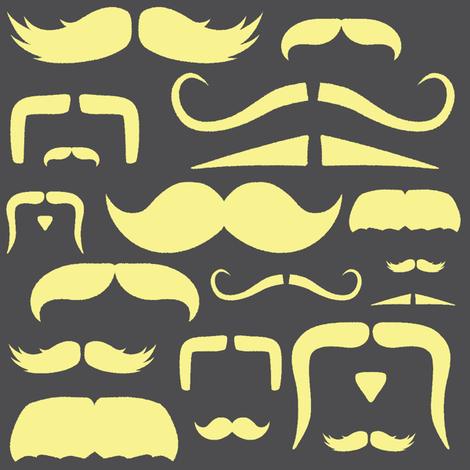 mustache love yellow and grey fabric by bridgethofer on Spoonflower - custom fabric