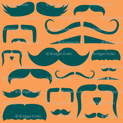 mustache love orange and teal