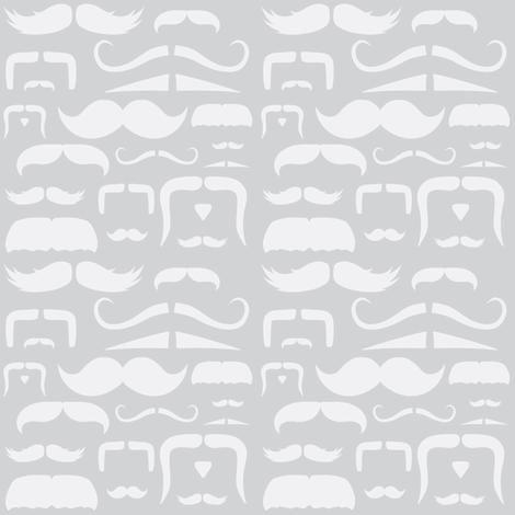 mustache love grey ghost fabric by bridgethofer on Spoonflower - custom fabric