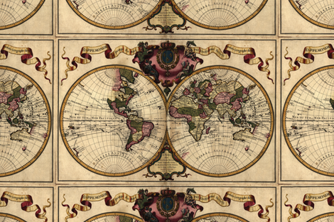 Template - 1720 World Map by Delisle - Centered fabric by zephyrus_books on Spoonflower - custom fabric