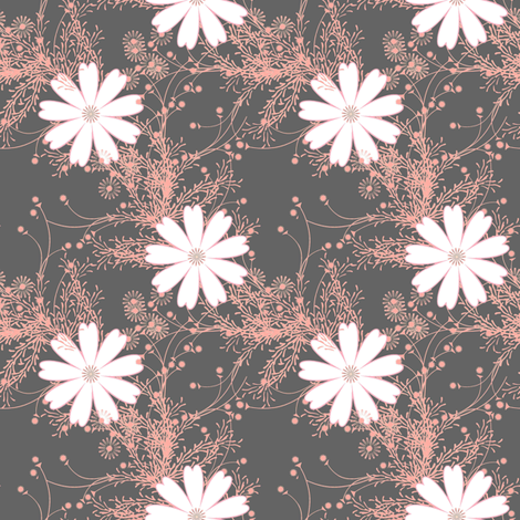 Cosmos with pink sprigs on gray fabric by joanmclemore on Spoonflower - custom fabric