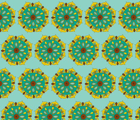 teal mandala light fabric by dnbmama on Spoonflower - custom fabric