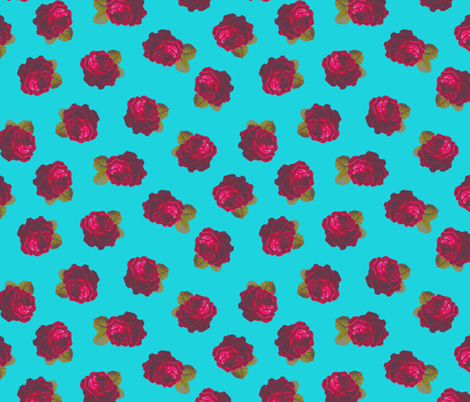 Roses on turquoise fabric by joanmclemore on Spoonflower - custom fabric