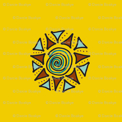 swirls and triangles mustard
