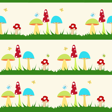 Mushrooms On Yellow fabric by beccanom on Spoonflower - custom fabric