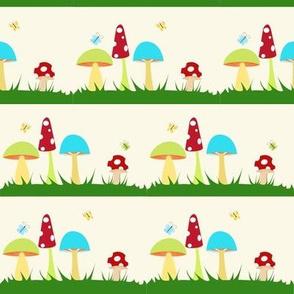 mushrooms on yellow