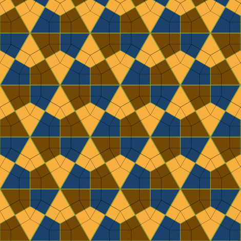 Colorful Tessellated Hexagonal Wheel - Blue, Yellow, Brown, Green fabric by zephyrus_books on Spoonflower - custom fabric