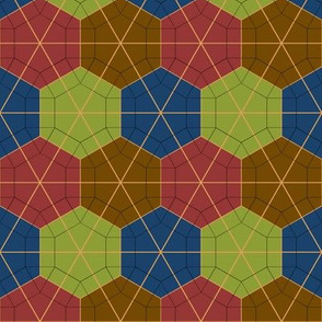 Colorful Tessellated Hexagonal Wheel - Red, Brown, Blue, Green, Yellow