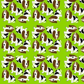Basset Hound on Lime Green  (Micro)