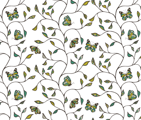 Butterflies and branches Mustard and Teal fabric by kezia on Spoonflower - custom fabric