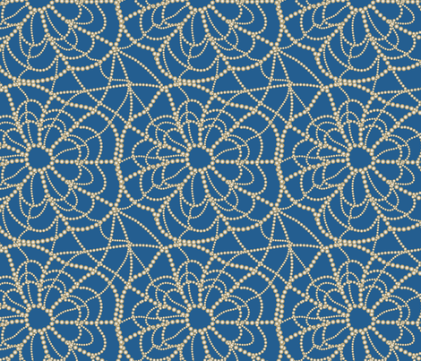 spiderweb on blue fabric by kociara on Spoonflower - custom fabric