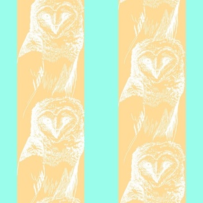 Snow Owl wallpaper Large in Blue and Yellow