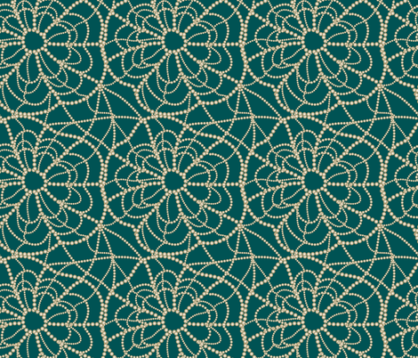 gold spiderweb on green fabric by kociara on Spoonflower - custom fabric
