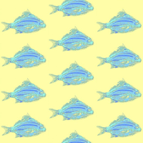 tropical blue fish yellow background