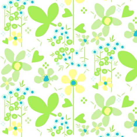 Fall'n For Flowers - White - A Simple Wish -  © PinkSodaPop 4ComputerHeaven.com fabric by pinksodapop on Spoonflower - custom fabric