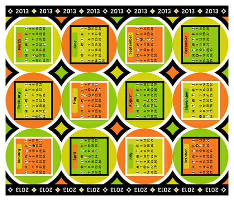 Geometric Citrus 2013 Calendar fabric by modgeek on Spoonflower - custom fabric