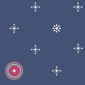 Raspberry Roundel and Starflakes on Slate Blue