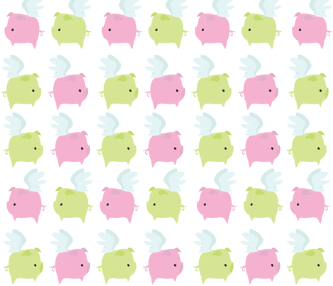 Flying Piggies fabric by garwooddesigns on Spoonflower - custom fabric