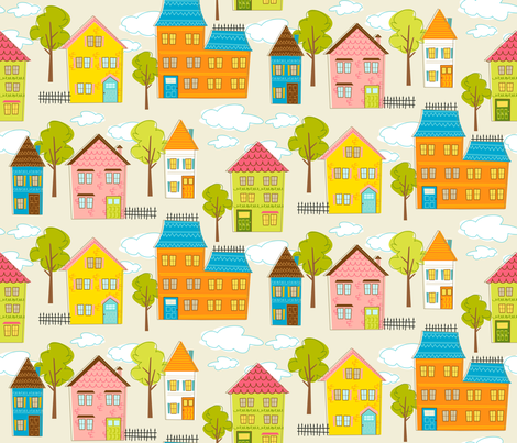 Hipster houses (linen) fabric by retrorudolphs on Spoonflower - custom fabric