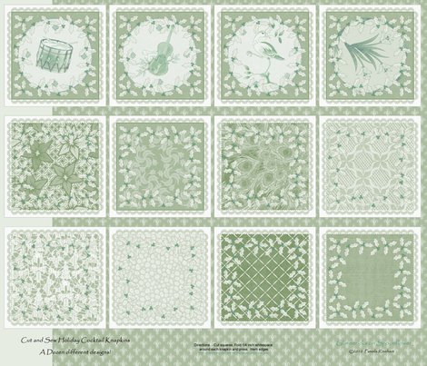 holiday_cocktail_napkins - sage and scallion fabric by glimmericks on Spoonflower - custom fabric
