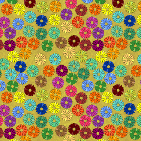 zinnia_klimt gold fabric by glimmericks on Spoonflower - custom fabric