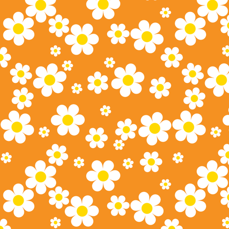 Orange Daisies fabric by shelleymade on Spoonflower - custom fabric