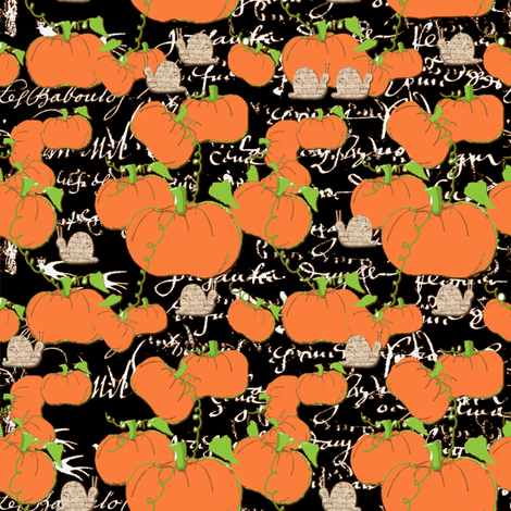 Pumpkin Patch and French with French script snails-ch fabric by karenharveycox on Spoonflower - custom fabric