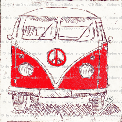 Campervan - Large Wall Decal, Fabric, Wallpaper_red