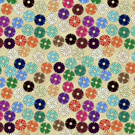 zinnia_klimt platinum fabric by glimmericks on Spoonflower - custom fabric