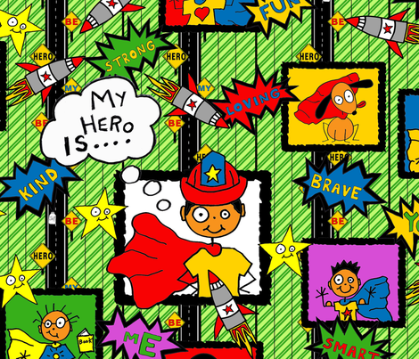 My Hero Is.... Be My Hero (large scale) fabric by joojoostrees on Spoonflower - custom fabric