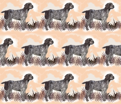 German Wirehaired Pointer in the grass fabric by dogdaze_ on Spoonflower - custom fabric