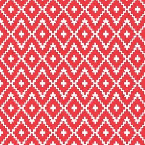 Southwest Diamonds Chevron - White on Red