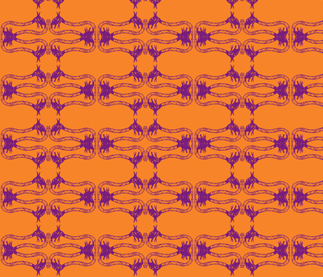 Creepy Crawlies No. 2 (Orange & Purple) fabric by lisulle on Spoonflower - custom fabric