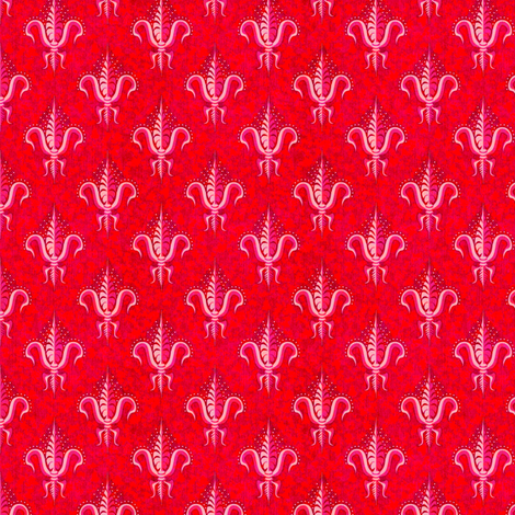 sparkly_fleur_de_lis_cranberry fabric by glimmericks on Spoonflower - custom fabric