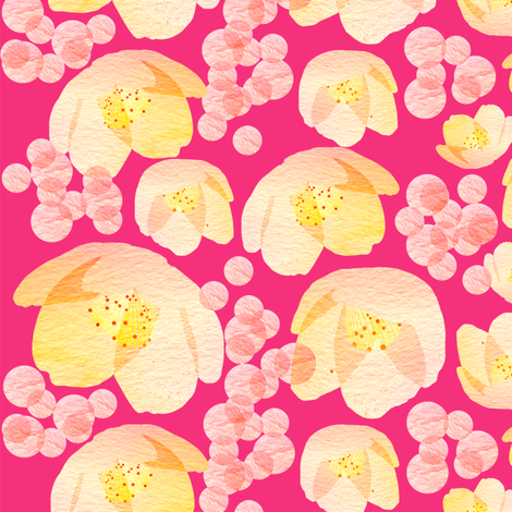 Hot pink garden fabric by sandeehjorth on Spoonflower - custom fabric