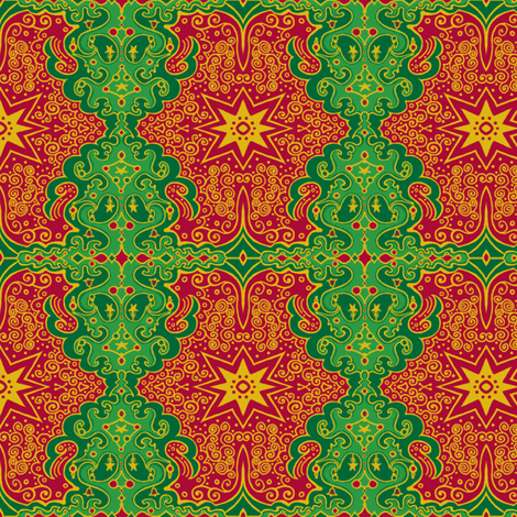CircusWagonXmas_4_DKgreen fabric by tallulahdahling on Spoonflower - custom fabric