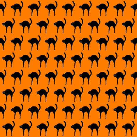 Black Cat on Halloween Orange fabric by de-ann_black on Spoonflower - custom fabric
