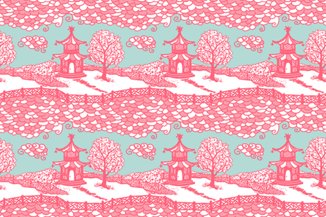 Cloud_Pagoda Fretwork coral/aqua fabric by danikaherrick on Spoonflower - custom fabric