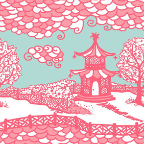 Cloud_Pagoda Fretwork coral/aqua