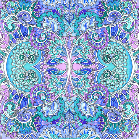 Enchanted Forest of Blue and Lavender fabric by edsel2084 on Spoonflower - custom fabric