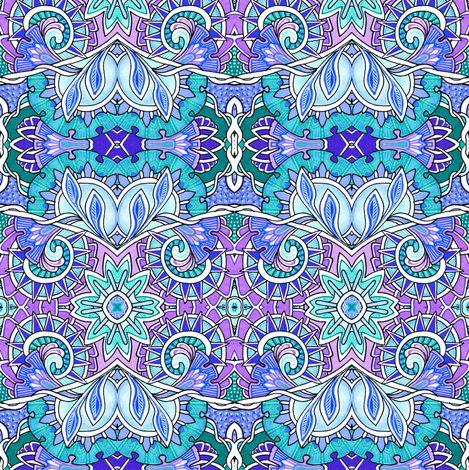 The Meadow by the Enchanted Forest in blue and lavender fabric by edsel2084 on Spoonflower - custom fabric