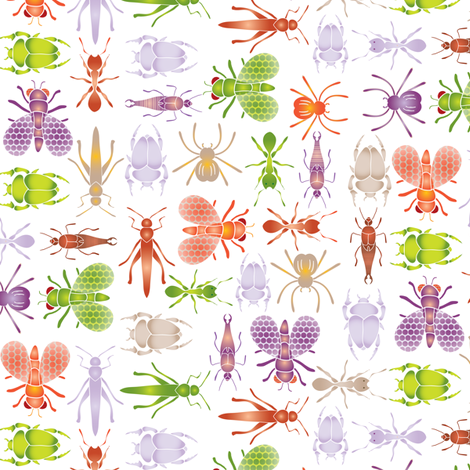 Crawlies don't have to be creepy fabric by ebygomm on Spoonflower - custom fabric