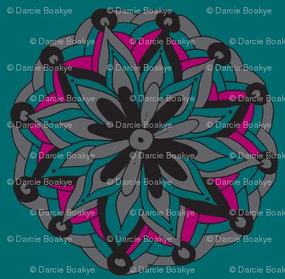 teal mandala flower