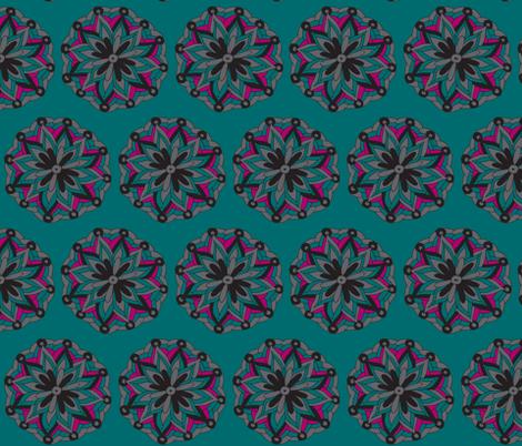 teal mandala flower fabric by dnbmama on Spoonflower - custom fabric
