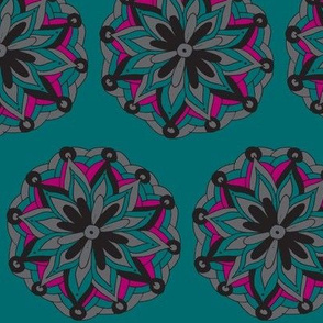teal mandala flower