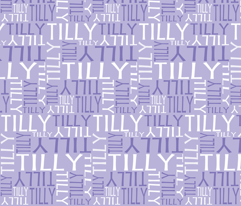 Personalised Name Fabric - Little Birdy Purple/Lavender fabric by shelleymade on Spoonflower - custom fabric